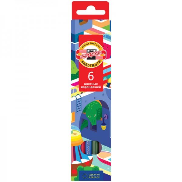 """Գունավոր մատիտներ Koh-I-Noor """"Երազանքի քաղաք"""" 6 գույն"""