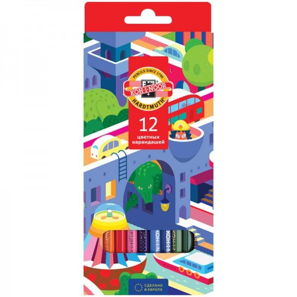 """Գունավոր մատիտներ Koh-I-Noor """"Երազանքի քաղաք"""" 12 գույն"""