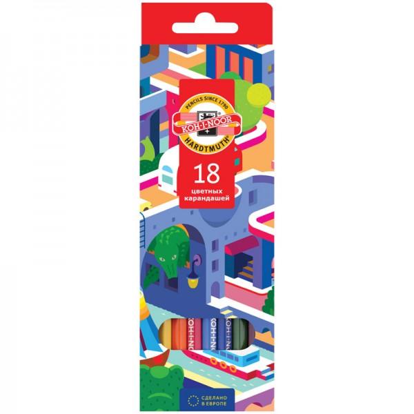 """Գունավոր մատիտներ Koh-I-Noor """"Երազանքի քաղաք"""" 18 գույն"""